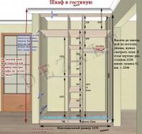 Схемы встроенного распашного шкафа.