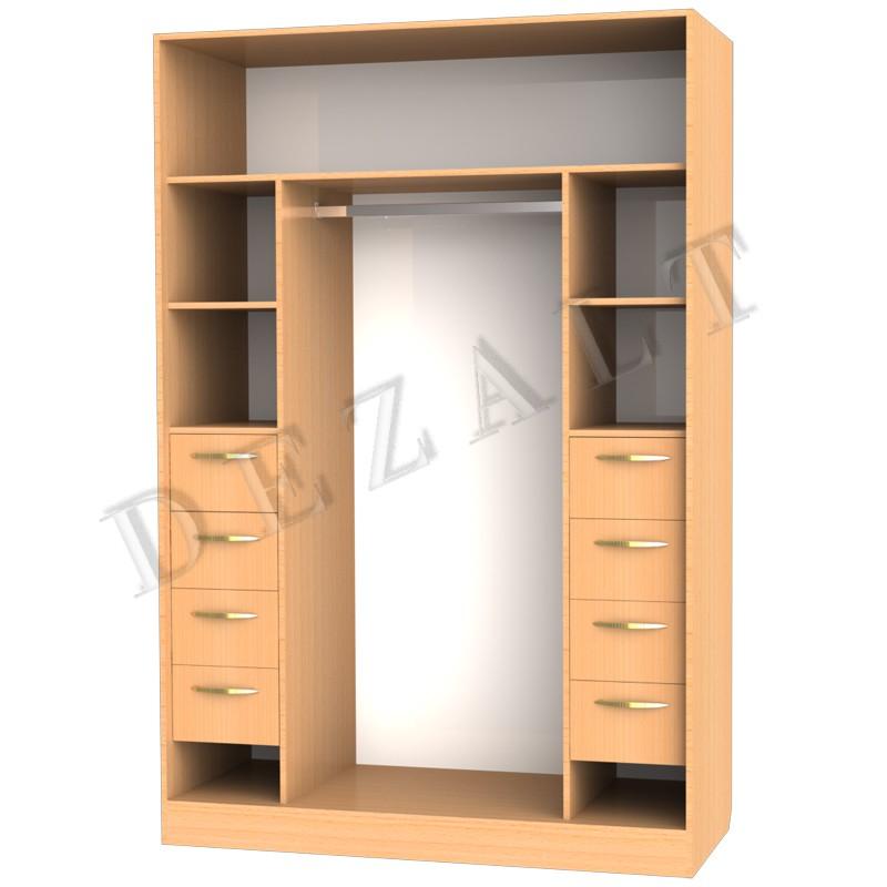 Каталог: шкаф купе с полками и ящиками.