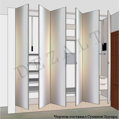 Шкаф встроенный с зеркальными распашными дверьми.