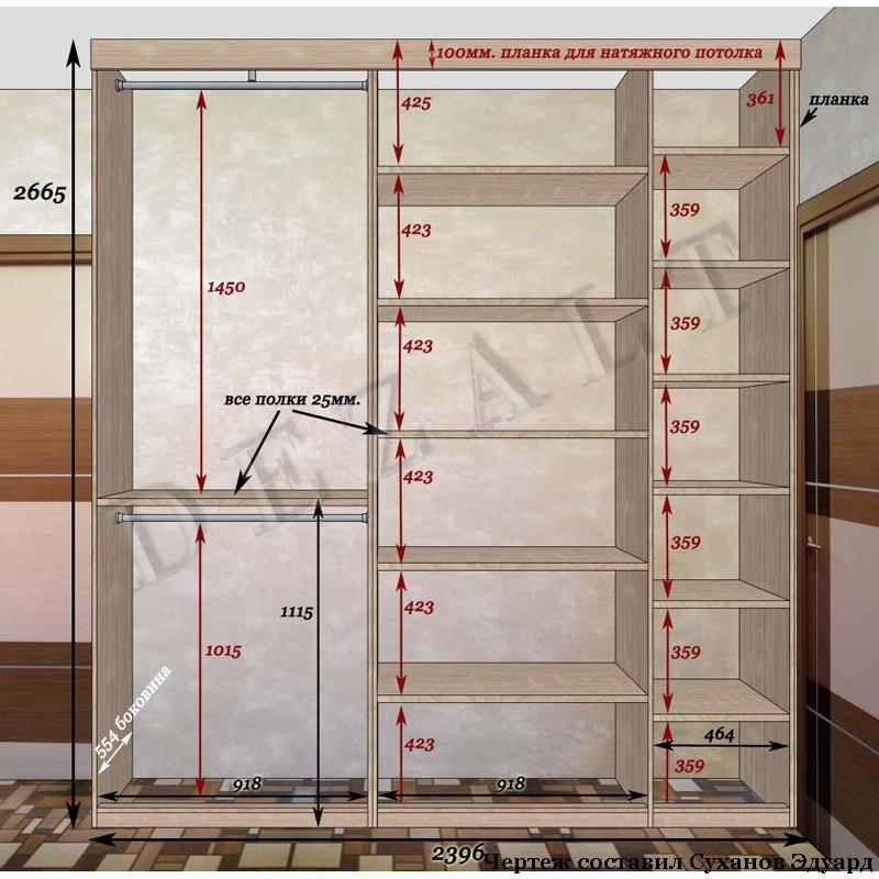 Встроенный шкаф распашной схема