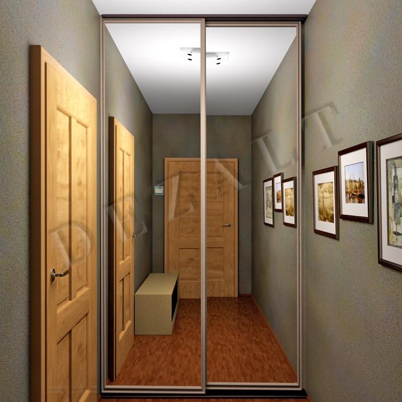 Каталог: узкая гардеробная с зеркальными дверьми.